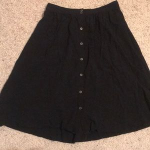 Black F21 midi length A-line skirt